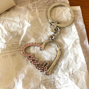 NWOT Coach Pink Pave Crystal Script Heart Keychain